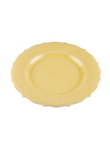 Kanca Ev Dantel Yemek Tabağı, 26Cm. Sarı Sarı